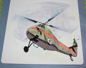 Large Vintage Flash Card - Helicopter Print - 1960's
