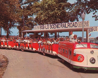 Vintage Detroit Postcard Print: Bob-lo Island Railroad - Detroit, Michigan