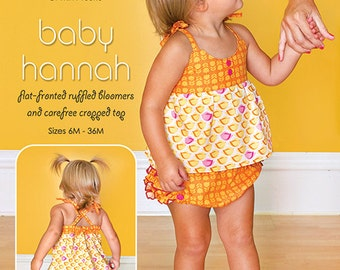 ModKid - Baby Hannah - Paper Sewing Pattern for Babies and Toddlers Top and Bloomers