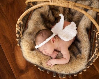 Crocheted angel wings and headband, baby photo prop