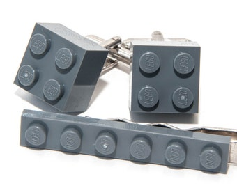 Grey (Gray) Lego Brick Cufflinks and Lego Plate Tie Clip  Handmade Cuff links