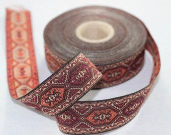 25 mm Multicolor Woven Jacquard ribbon (0.98 inches) - jacquard  - Decorative Craft Ribbon - Sewing trim - woven trim - embroidered ribbon