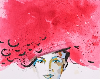 Printable artwork, Art, Print, Aquarelle, Woman, Expressionism, Head, Red, Beautiful