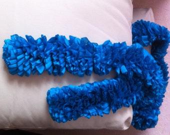 Hand Made warm Ruffle Scarf - aquamarine