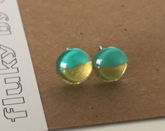 Stud earrings. 8mm. Bold, bright, unique, fun, eye-catching, cute. Teal and gold.