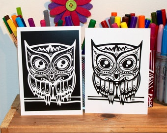 Prints: Two Black And White Owls