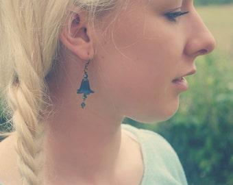 Navy Blue Earrings - Flower Earrings - Floral Earrings - Dangle Earrings - Drop Earrings - Lily Earrings - Blue Jewelry - Bronze Earrings.