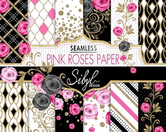 60% OFF SALE, Floral Digital Paper, Pink Roses Seamless Pattern, Digital Wedding Roses Paper, Pink Flowers Pattern, Glitter Floral Paper