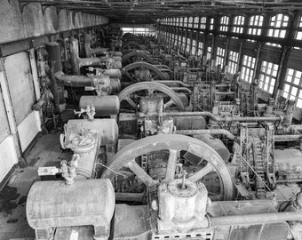 Steel Mill Machine Warehouse Black and White Wall Art Photography Print