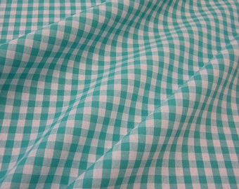cotton fabric woven check lightblue white 1cm France