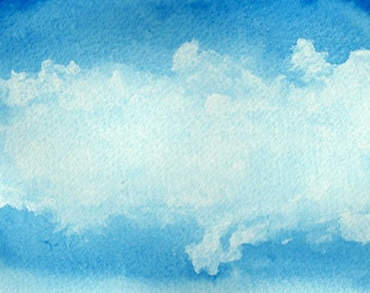 Abstract watercolor blue sky white clouds instant download naturalistic painting nature