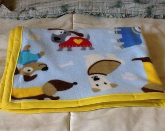 Handmade fleece blanket, cute dogs