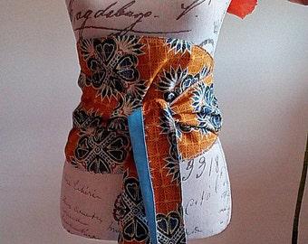 Reversible African printed Obi belt