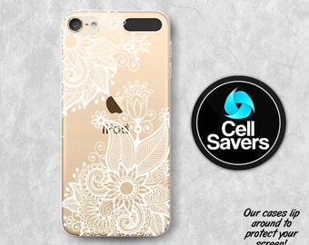 Henna Clear iPod 5 Case iPod 6 Case iPod 5th Generation iPod 6th Generation Rubber Case Gen Clear Case White Henna Line Art Floral Tumblr