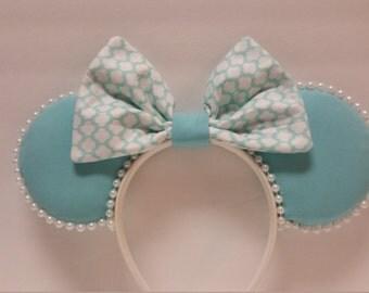 Aqua & Pearls Mickey Inspired Ears