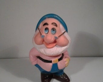 Snow White and The Seven Dwarves Doc Vintage Rubber Toy Walt Disney Productions Made in Hong Kong