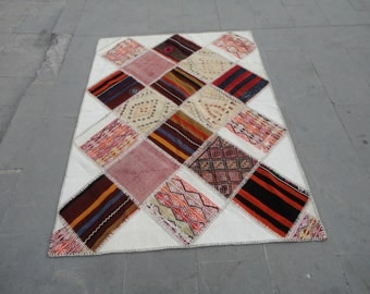 Turkish patch work rug,combination of art,vintage rug,tapis Turc,67 x 48 inches