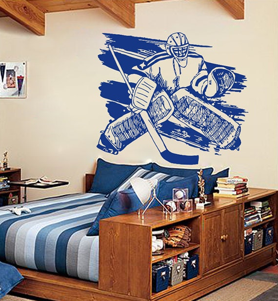 Kik559 wall decal sticker roller hockey goalie stick puck for Sports decals for kids rooms