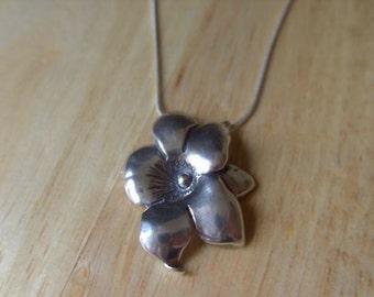 Pendant flower shape,Hand made,Sterling silver,