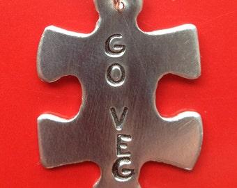 VEG Puzzle Piece - Go Veg Necklace - Veg Puzzle - Veg Puzzle Piece - Go Veg - Veg Shop - Vegetarian - Vegan - Free Shipping