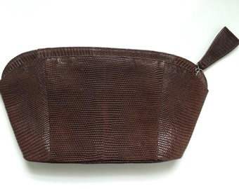 Vintage Brown Leather Style Clutch - Retro PinUp Style