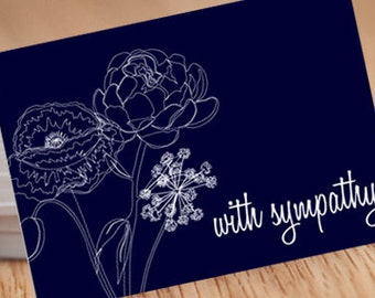 Single-line bouquet Dark Blue, 5x7 Sympathy Postcard INSTANT DOWNLOAD