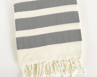 Personalized Hand-Loomed Striped Turkish Peshtemal Bath / Beach Towel, 100% Genuine organic cotton