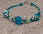 Beaded Bue Bracelet, Sea blue beads, Boho wedding jewellery,  Barefoot fashion, Holiday wardrobe, Gift for me, African beads, Unique jewelry