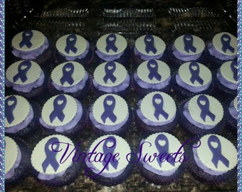 1 dozen Awareness Ribbon fondant cupcake toppers.