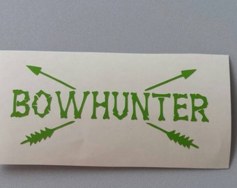 BOWHUNTER Vinyl Decal . Free .. BOW HUNTER Shipping Window Car Laptop Wine Glass Coffee Beer Mug Frame Sports Bottle Organizer Sticker