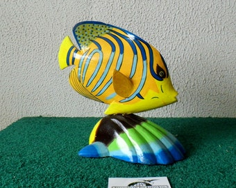 Hand Carved / Hand Painted Wood Fish on Shell