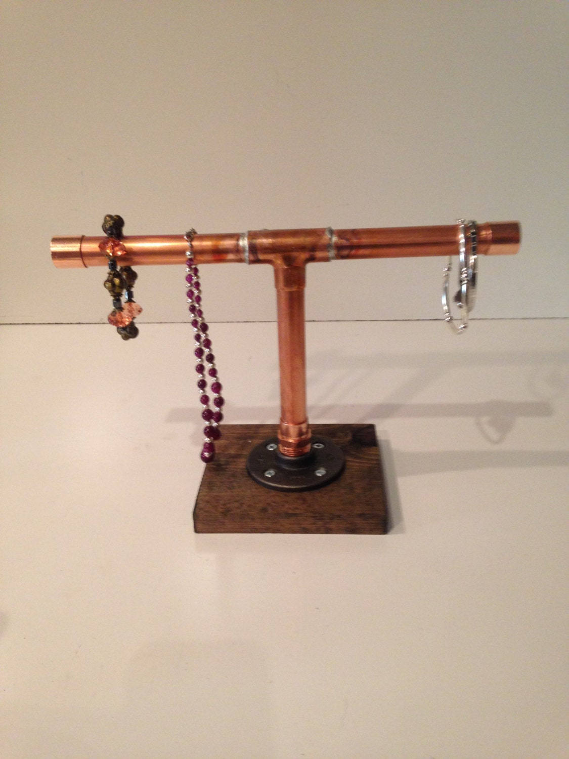 Industrial 3 4 copper pipe jewerly stand by for Copper pipe jewelry stand