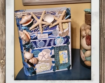 Nautical keepsake book/memory book/beach keepsake book/memory box