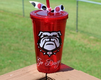 Georgia Bulldog Tumbler with Lid and Straw, Personalized, Monogram, Go Dawgs