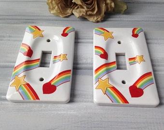 Vintage Rainbow Ceramic Light Switch Covers / Retro Light Switch Covers / Ceramic Light Covers / Kids Room Decor / Rainbow Decor