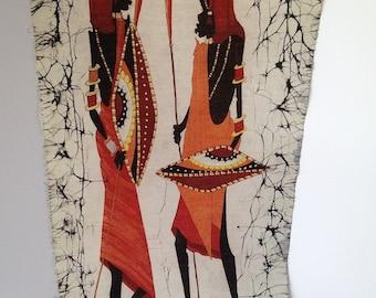 African Hand-painted Cloth Art / African Art Vintage Batik Painting / African Art / Hand-painted African Art / 2 African Woman