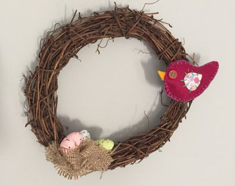 Spring Chick Rattan Wreath