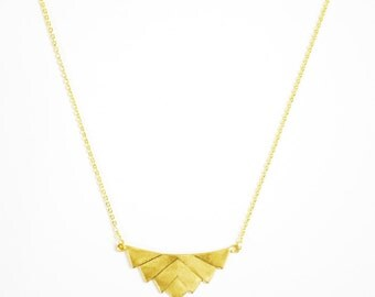 """Brass Stamping Chevron Pendant Necklace on 16K Gold Chain, 18"""" Chain length"""