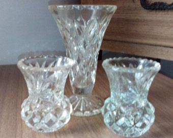 Pair of Thistle vases and other Glass Vase