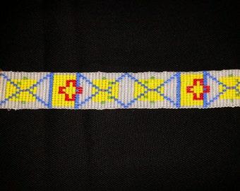 Handmade Bracelet, Original Geometric Design, Loom Beaded
