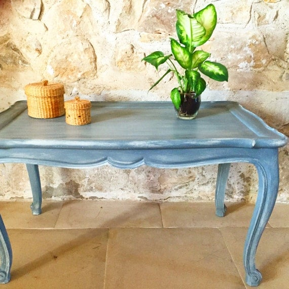 table basse ancienne gris ardoise fond cr me caroletarot