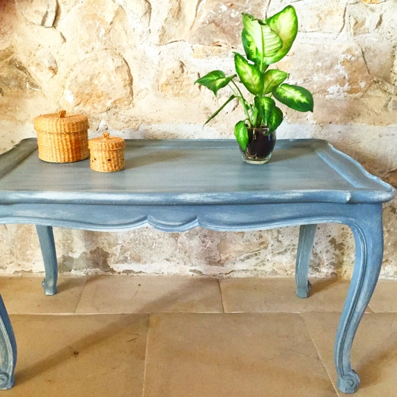 Table basse ancienne gris ardoise fond cr me caroletarot - Table ancienne repeinte ...
