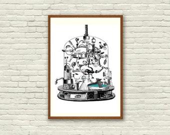 Fine Art Print / Art Poster / Collage / Chemist / Machine / Digital Prints / Black & White / Surrealism