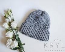Grey Knit Hat with Silver Crystals Woman Hat Wool Hat Grey Hat with Crystals Hat for Woman with Beads Warm Knit Hat and Cap Beanie