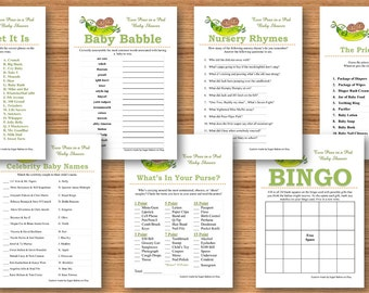 Two Peas in a Pod Baby Shower Game Package - 9 Printable Baby Shower Games