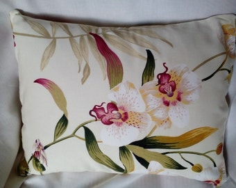 100% Cotton, Orchid Design on Cream Background Cushion Cover