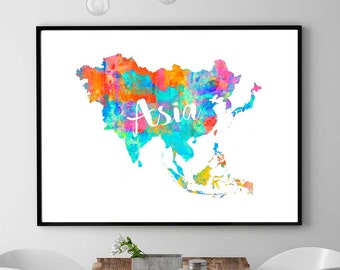 Asia Map Print, Asia Printable Map, Continent Map Gift, Asian Wall Art Decor, Watercolor Map Print, Asia Instant Download Map