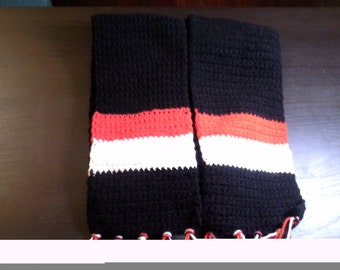 Black Scarf with Red and White Stripes