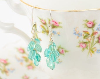 Sterling silver apatite cluster earrings