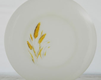 Vintage 60s Anchor Hocking Fire King Milk Glass Golden Wheat Dinner Plate Mid Century Kitchenware 10""